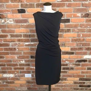 DKNYC Black Ruched Bodycon Low Back Dress Size S